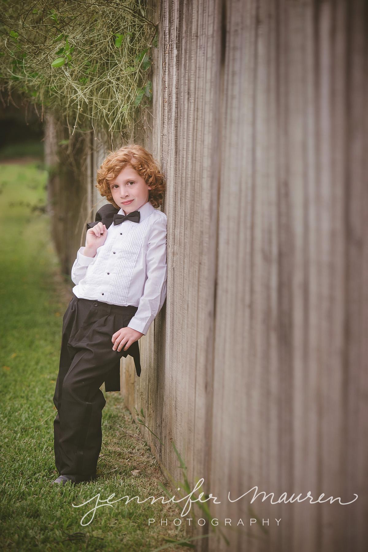little boy in tuxedo