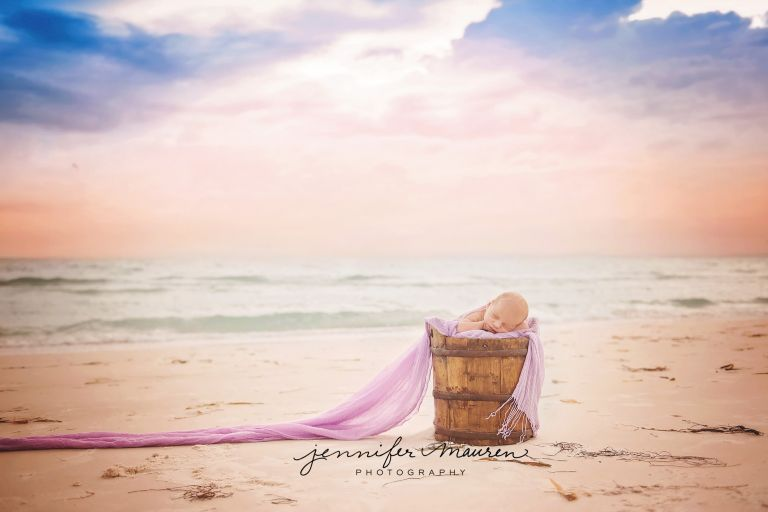 newborn baby portrait sunset beach
