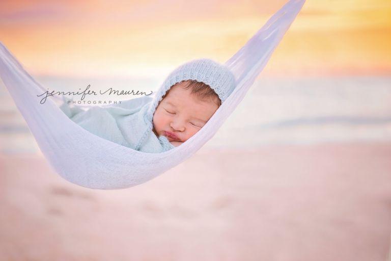 newborn in hammock beach session